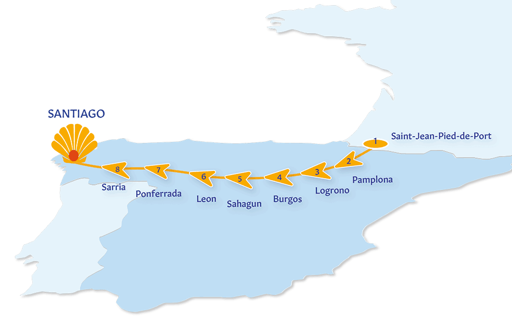 A map of the Camino route in France