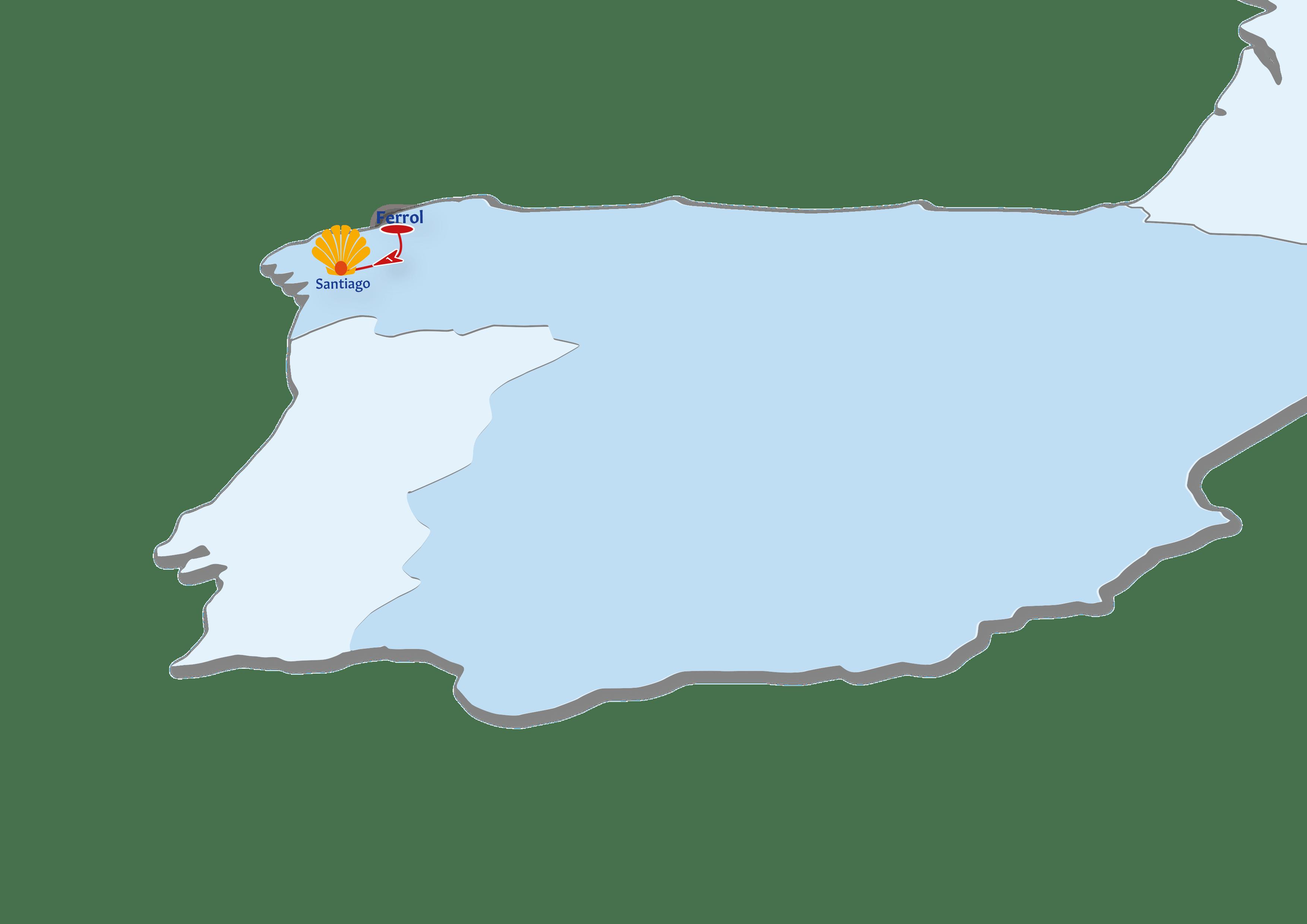 A map of the Camino de Ingles route