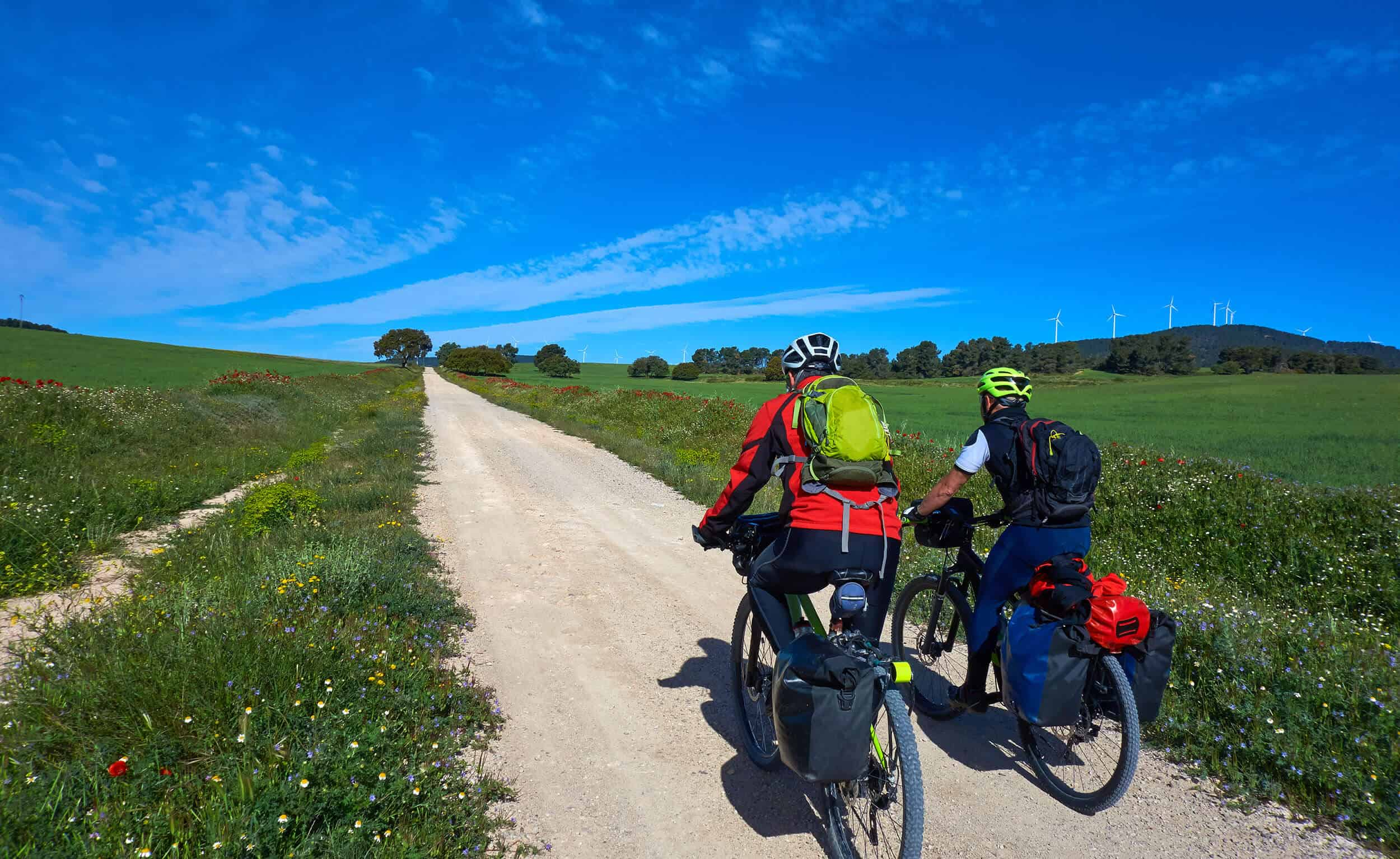Two men cycling the Camino Frances route in Spain