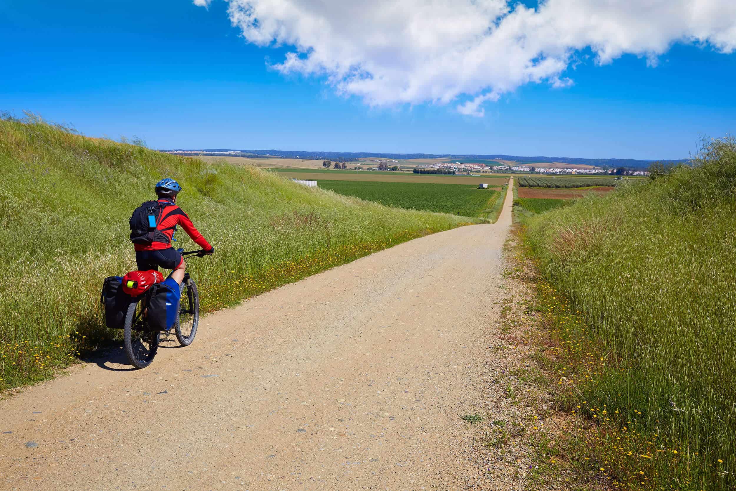 A man cycling the Camino la Plata Route