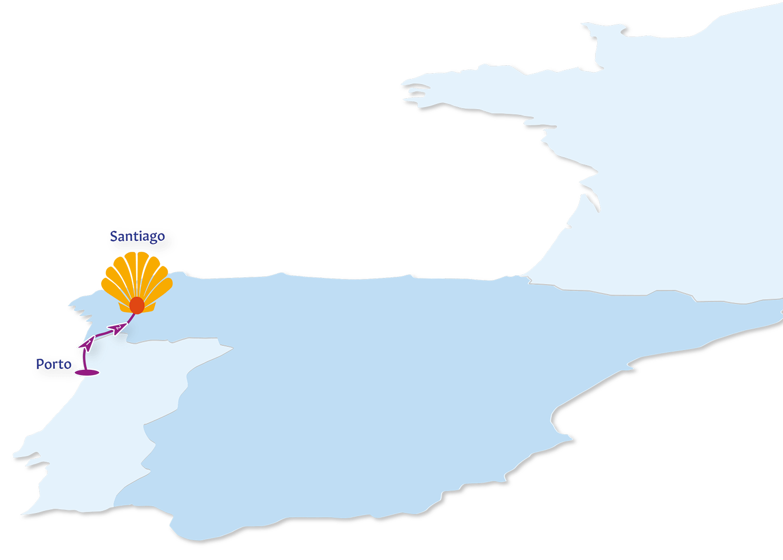 A map of the Camino de Portuges Coastal Route